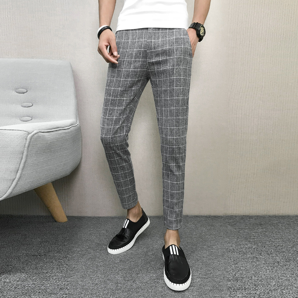 Mens Ankle Zip Plaid Check Casual Trousers Pants Joggers Jogging Slim Fit Skinny