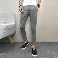 Fashion 2018 Summer Thin Pants Men Slim Fit Casual Plaid Work Pants All Match Streetwear Ankle Length Trousers Men Clothing 3XL