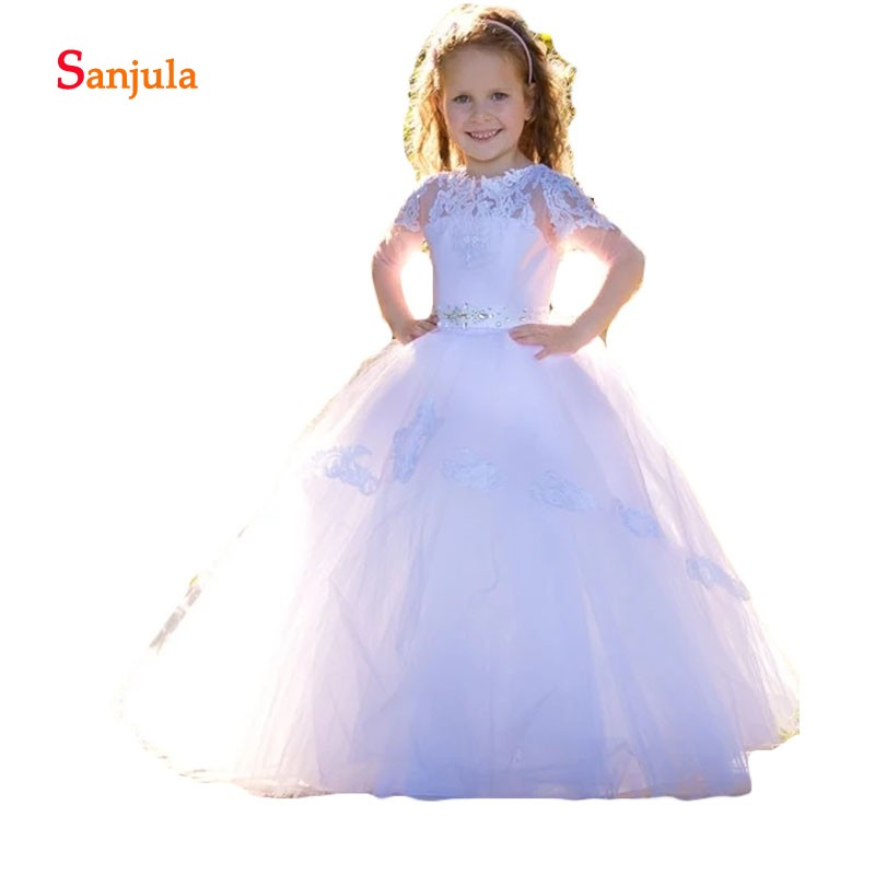Half Sleeve Ball Gown   Flower     Girls     Dresses   White Tulle Appliques Beaded Charming First Communion   Dresses   Long D104