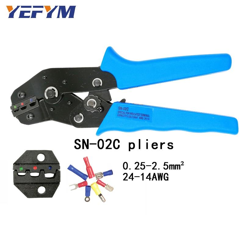 Yefym Sn-02c Crimpen Zange Kapazität 0,25-2.5mm2 14-24awg Europäischen Stil Terminal Clamp Selbst-anpassung Hand Werkzeuge Zangen