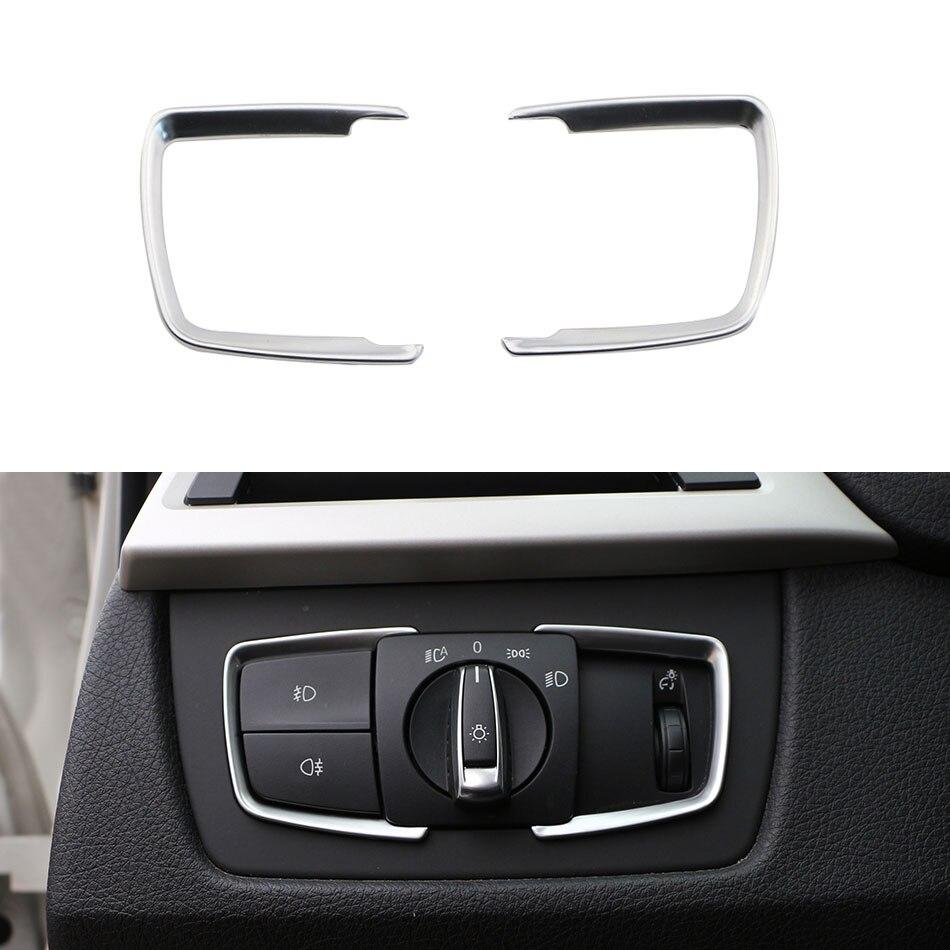 2Pcs/Set ABS Chrome Headlight Switch Frame Trim Adjustment Circle Sticker For BMW F30 F31 F32 F34 3 4 Series 320 328 Accessories