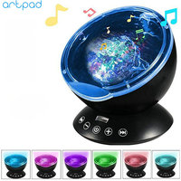 Artpad Ocean Wave Night Light Star Sky Projection Lamp with Speaker Timer Remote Control USB RGB 7 Color Projector For Kids Baby