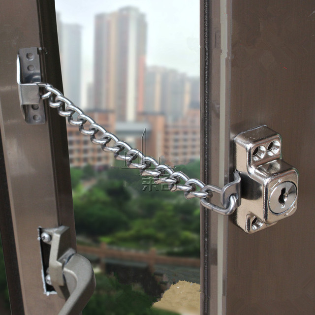 Stainless Steel Window Guard Window Door Restrictor Child Safety Security Chain Lock With Keys & Stainless Steel Window Guard Window Door Restrictor Child Safety ...