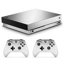 Xbox One X 스킨 스티커 비닐 용 Microsoft Xbox One X 콘솔 및 2 컨트롤러 용 금속 브러시 스킨 스티커 데칼