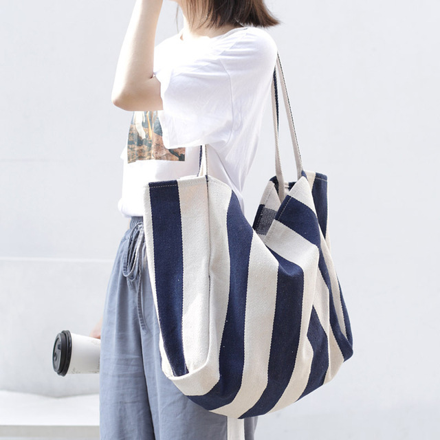 Women Canvas Large Shopping Bag Fashion Striped Cloth Reusable Tote Bag Leisure Shoulder Large Capacity Eco Shopper Bags 1