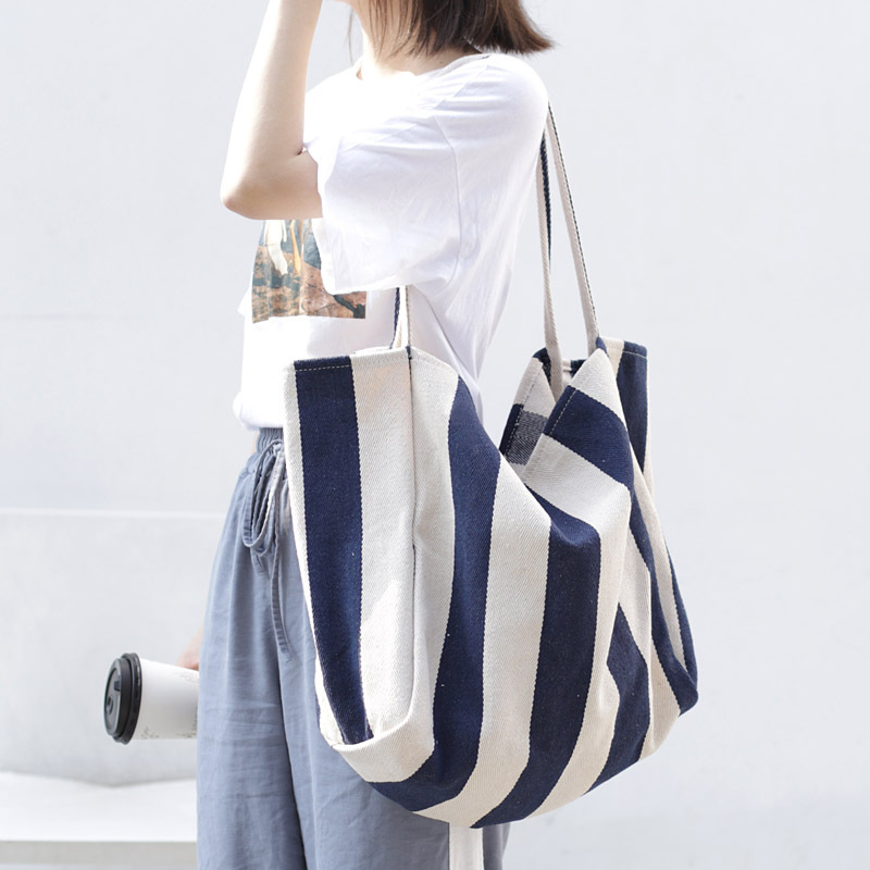 Women Canvas Large Shopping Bag Fashion Striped Cloth Reusable Tote Bag Leisure Shoulder Large Capacity Eco Shopper Bags