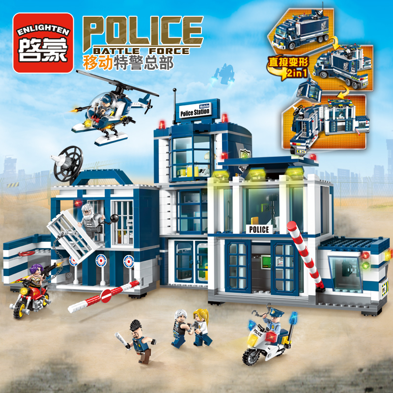 все цены на Enlighten Building Block City Police 2 in 1 Mobile Plice Station 7 Figures 951pcs MOC Educational Brick Toy Boy Gift-No Box онлайн