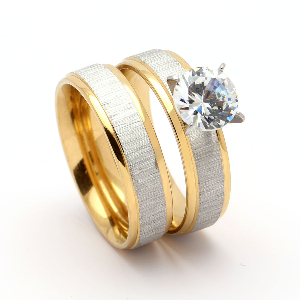 Hot sale new design gold color stainless steel women rings for women wedding engagement in stock free shipping
