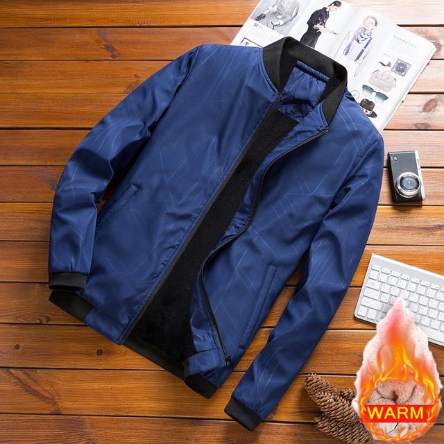Men's Autumn Winter Brand Casual Bomber Jacket Men Plus Velvet Coat Male Thicken Warm Pockets Jackets Slim Fit Jaqueta Masculina