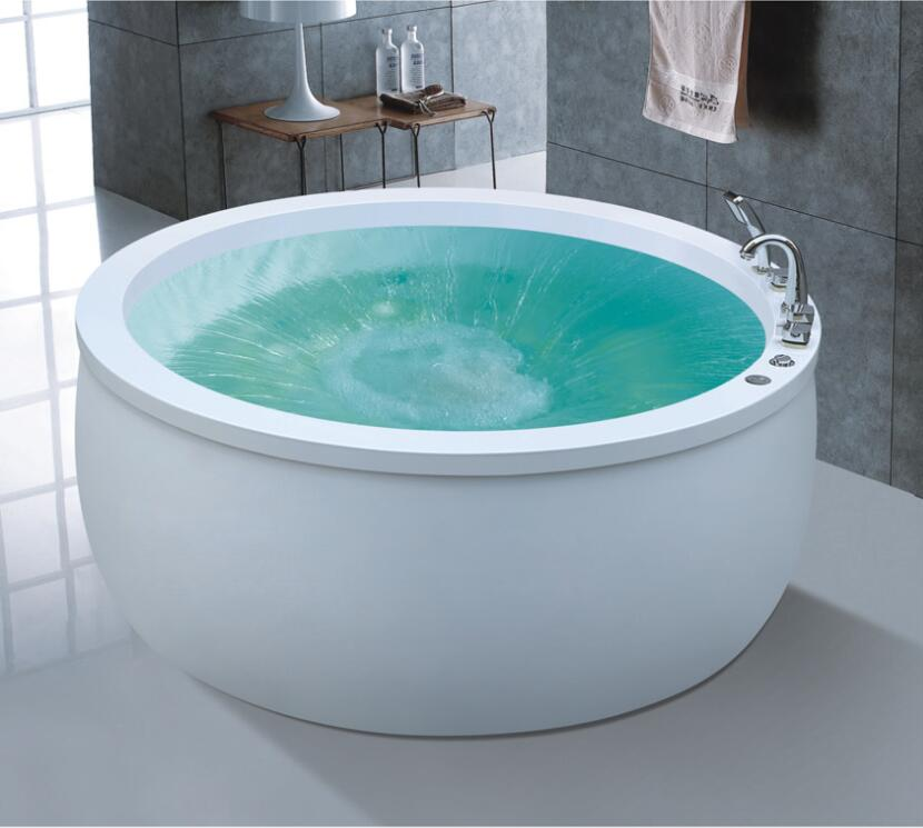 1600mm Round Surfing Fiberglass whirlpool Bathtub Acrylic Hydromassage Waterfall Tub NS1104