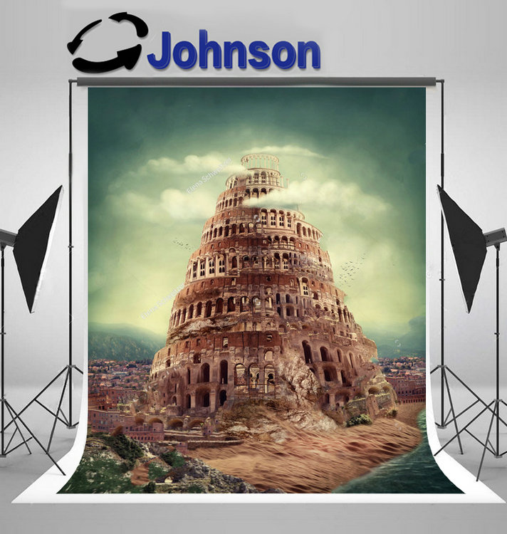 tower babel religion concept clouds backgrounds Vinyl cloth High quality Computer print wall photo backdrop