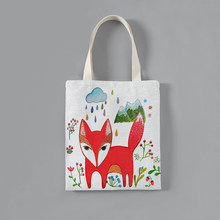 Customized Solid Corduroy Shoulder Bags Cartoon fox pattern print Tote Package Purses Casual Handbag shopping bag For girls(China)