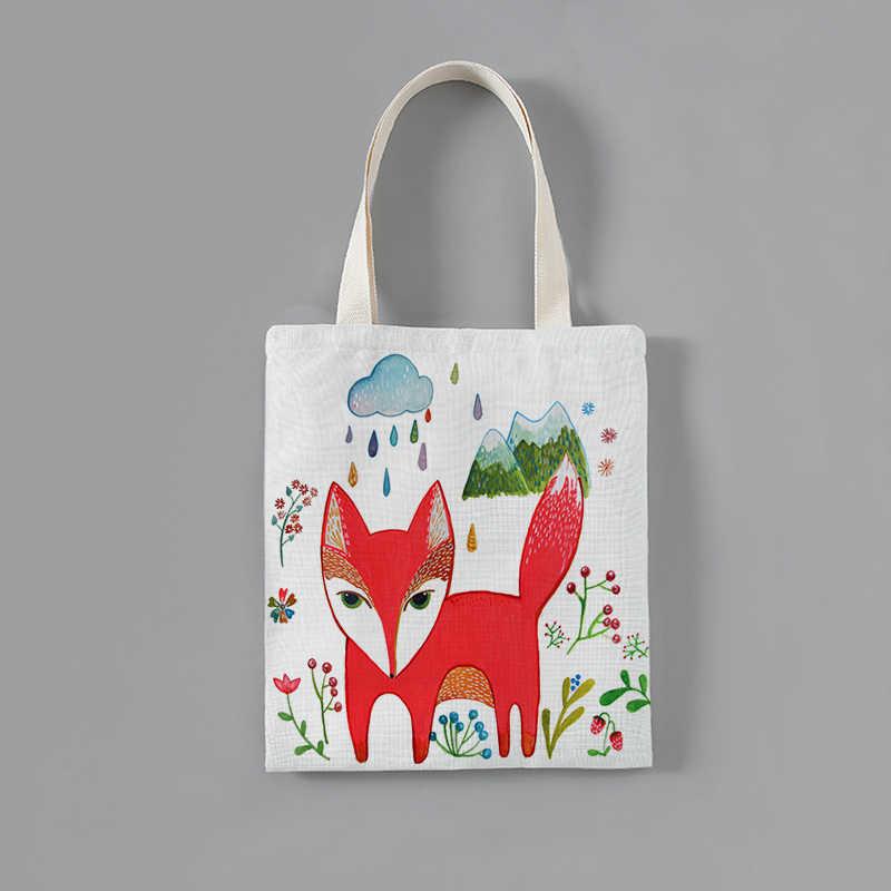 מותאם אישית מוצק קורדרוי כתף שקיות קריקטורה שועל דפוס הדפסת Tote חבילה מקרית ארנקי תיק קניות תיק עבור בנות