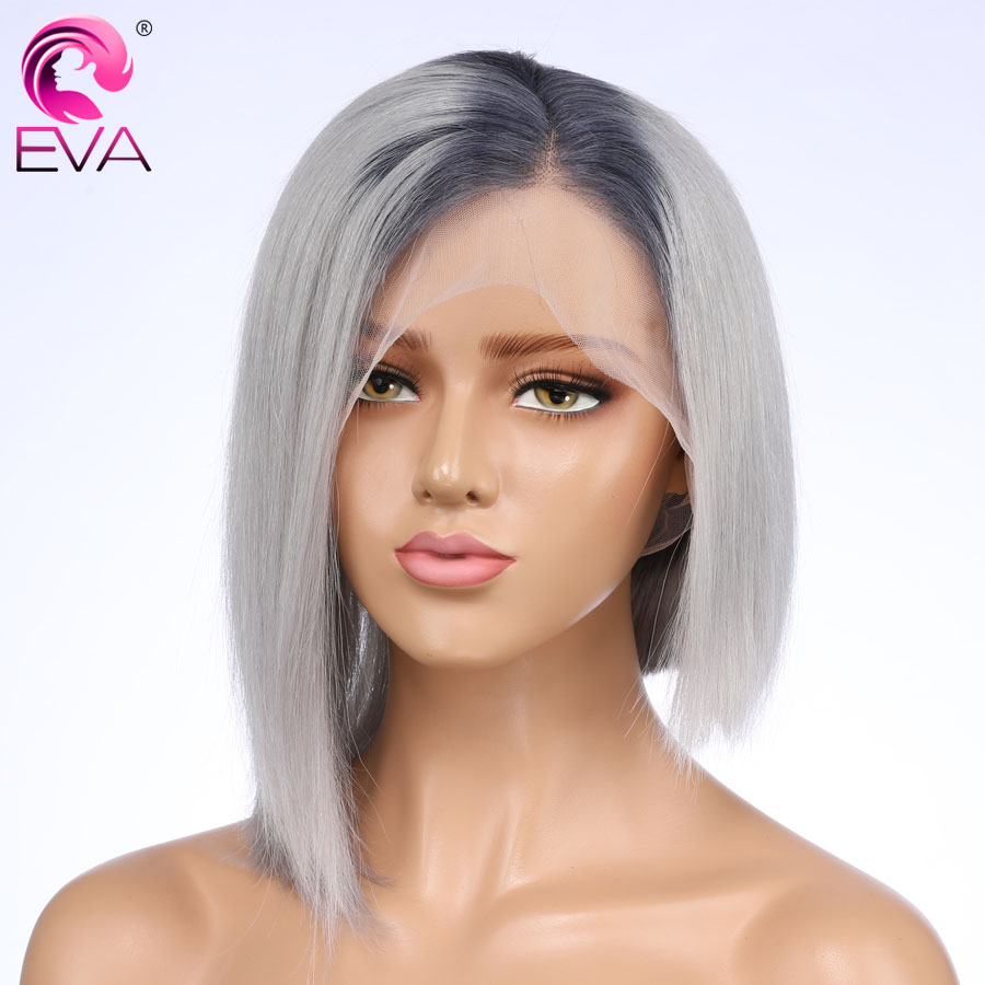 Eva Hair Short Lace Front Human Hair Wigs Brazilian Remy Hair Straight Pre Plucked Lace Front Bob Wigs With Baby Hair Glueless