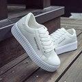 Mulheres Sapatos Casuais 2016 Outono Plataforma Sapatos Brancos Mulheres Lazer Esporte Ao Ar Livre Sapatos Único