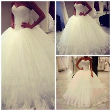 White Ball Gown Wedding Dresses Puffy Tulle with Lace Sweetheart Off the Shoulder Luxury Vestidos De Novia Floor Length