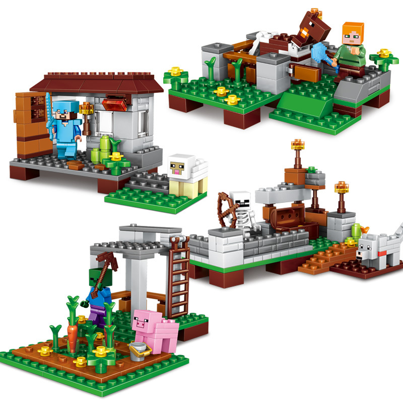 Toys & Hobbies 2019 New Style 296pcs 4 In 1 Town Guardian Childrens Educational Toys Compatible Legoeds Minecrafted Assembling Blocks Figures Children Toys Blocks