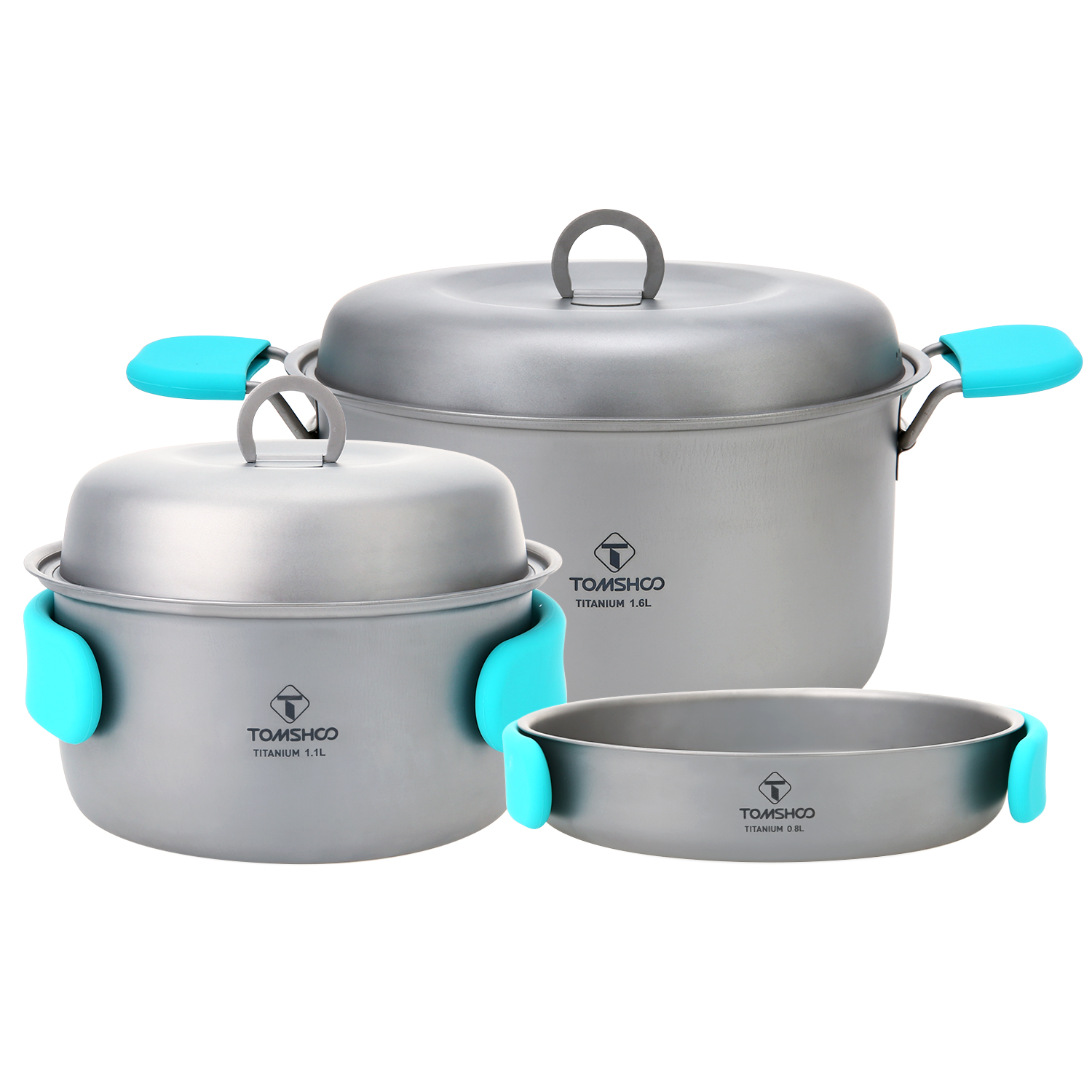 TOMSHOO 3 Piece Camping Cookware Titanium Pot Fry Pan Cook set Outdoor Cookware Backpacking Hiking Cooking