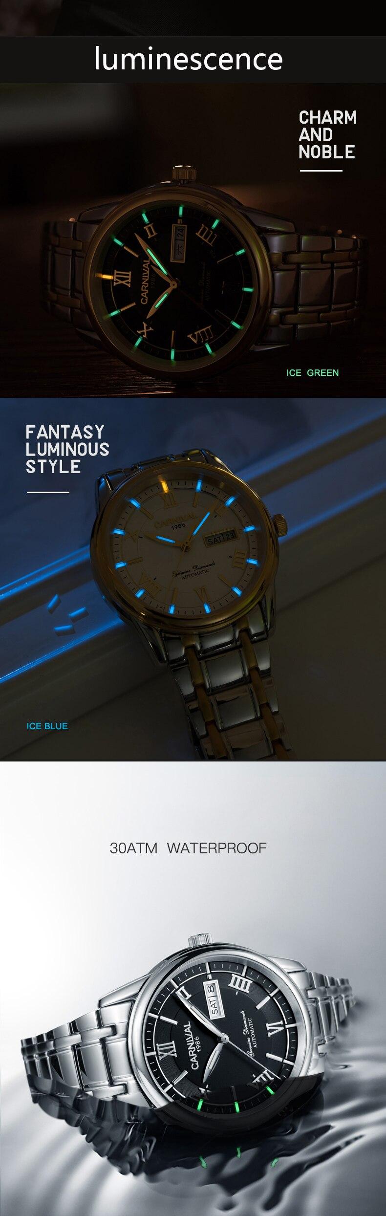 Carnaval relógios masculinos miyota t25 tritium automático