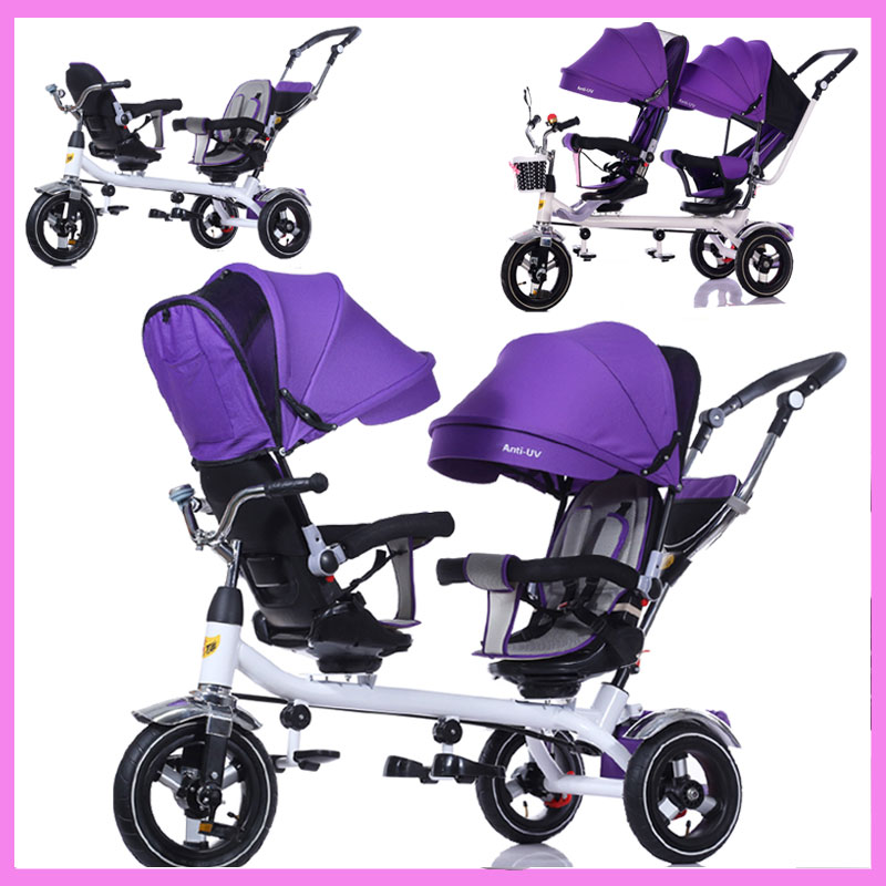 Children Tricycle Twins Baby Stroller Double Three Wheel Bike Stroller Swivel Seat Pram Pushchair Changing Sunshade Bicycle baby stroller with cute ceiling swivel wheel pushchair wide seat deluxe high view traveling trolly with snack tray