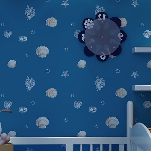 ФОТО Blue kids wallpaper for walls Cartoon Shell Non-woven Wall background Roll Modern wallpapers for Bedroom Girls boys home room