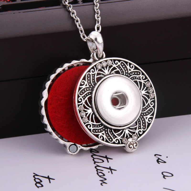 New Aromatherapy snap jewelry Aroma Diffuser lockets Pendant necklace Retro Round snaps necklace Fit 18mm snap Buttons jewelry