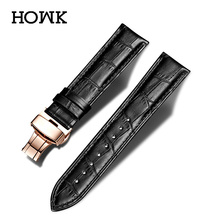 Genuine Leather Strap Stainless Steel Butterfly buckle Deployant Buckle Watch Band 18mm 20mm 22mm 24mm цена
