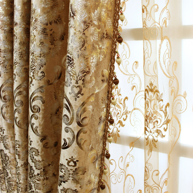 Bedroom European Curtains for The Living Room Window Shading Bronzing Cloth of Dining Key Luxury Style Flannelette
