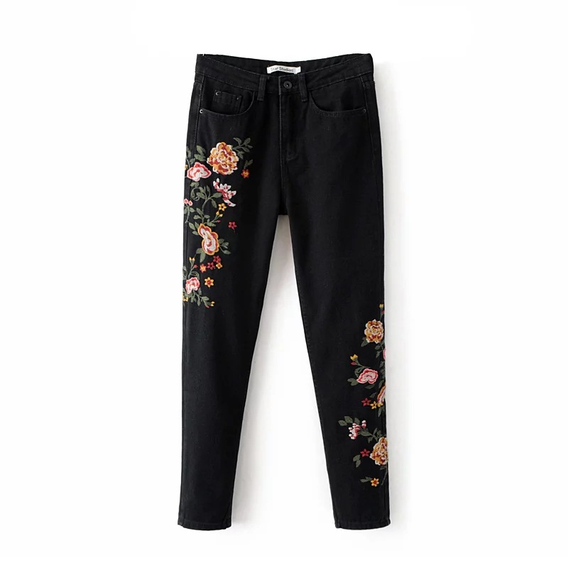 High Waist Jeans Limited Hot Sale Zipper Fly Embroidery Pencil Pants Mid Skinny 2017 Spring Womens