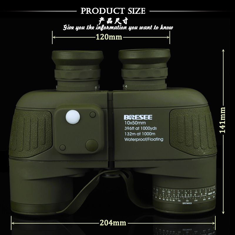 Binocular Military 10x50 professional Marine binoculars Waterproof Digital Compass telescope high power lll vision 10x50 outdoor military binocular army green marine prismatic binoculars hot sale
