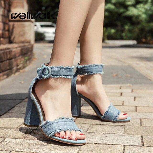 570d6079418 Zapatos de señora zapatos de 2018 de las mujeres de la moda sandalias Denim  tela de
