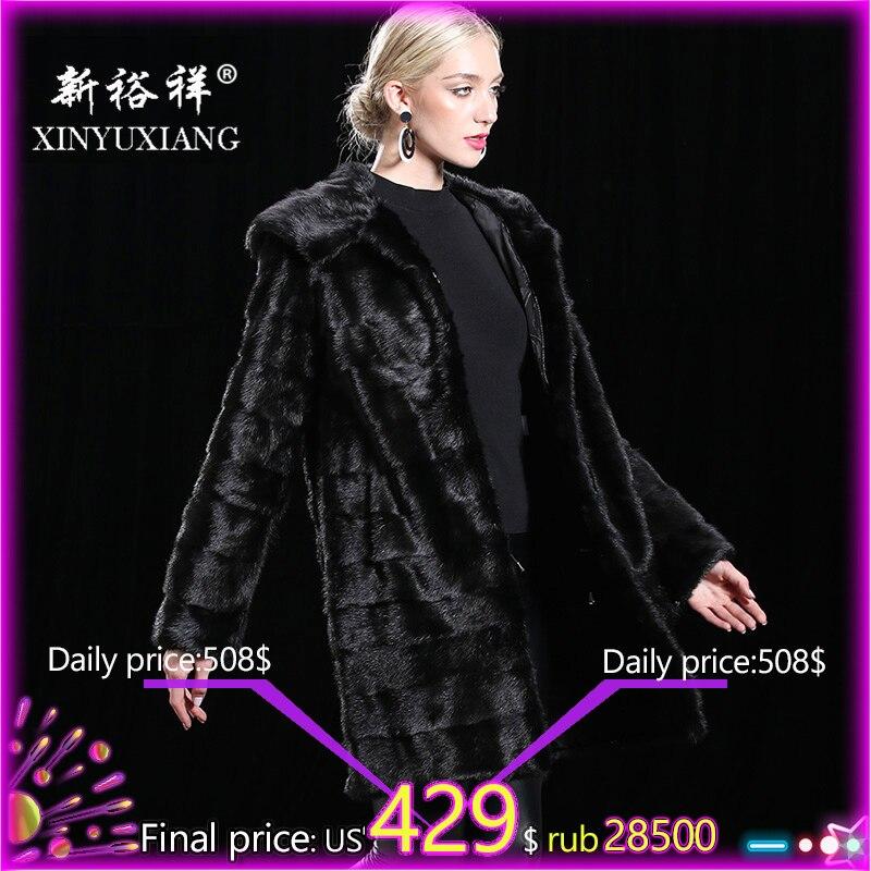 Personalizar con capucha de piel de visón Real abrigo 2018 mujeres invierno grueso cálido chaquetas negro desmontable Natural piel de cuero genuino abrigos