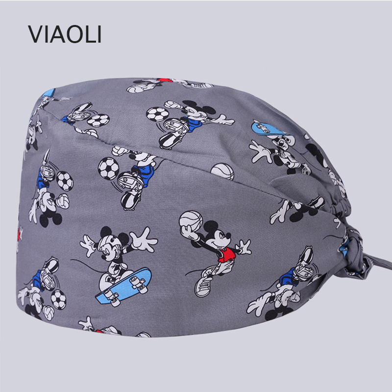 Viaoli Design Pet Doctor Hat Scrub Caps Hospital Medical Hats Print In Black Tieback Elastic Section 100% Cotton