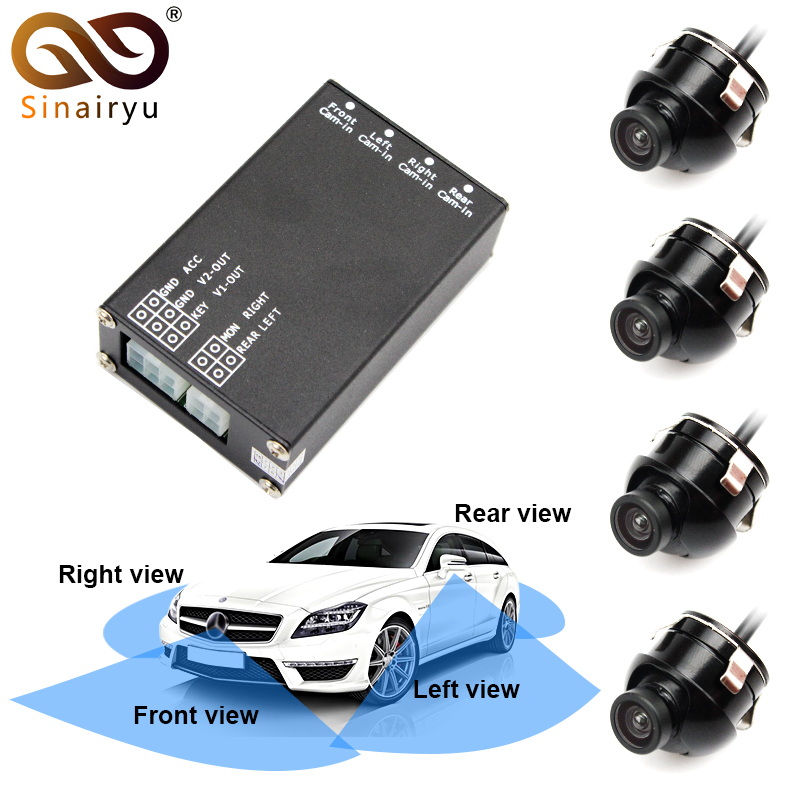 Sinairyu 4 Rear View Backup Cameras. 4 Video Input Control Switch Box System For Front Rear Left Right Side Camera Monitor