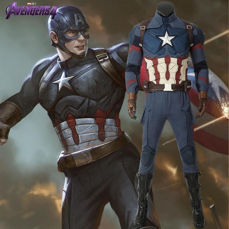 Avengers Endgame capitaine amérique Costume Steven Rogers Cosplay adulte ensemble complet bottes Halloween noël carnaval superhéros fête