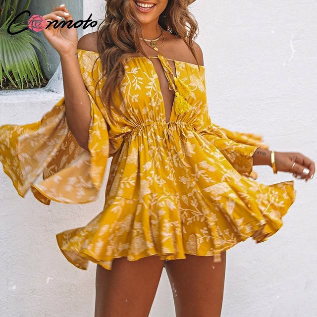 3f0915c93cc Conmoto Ruffles Summer Vintage Women Casual Playsuits Print Off Shoulder  2019 Short Jumpsuit Rompers Bohemian Playsuit