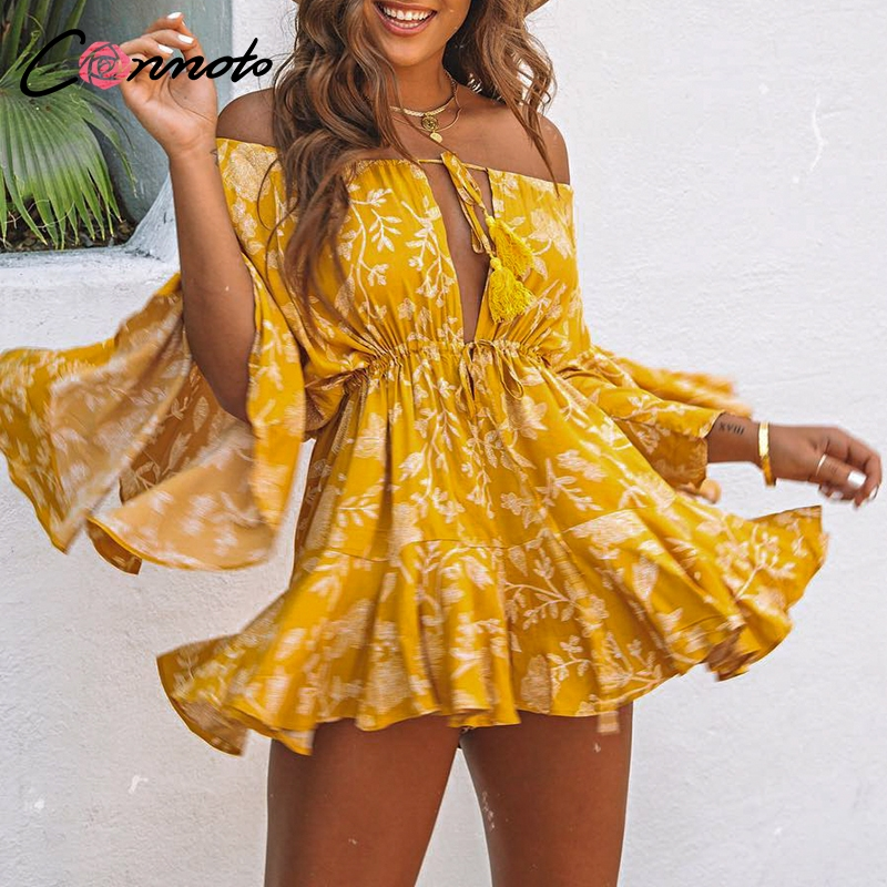 Conmoto Ruffles Summer Vintage Women Casual Playsuits Print Off Shoulder 2019 Short   Jumpsuit   Rompers Bohemian Playsuit