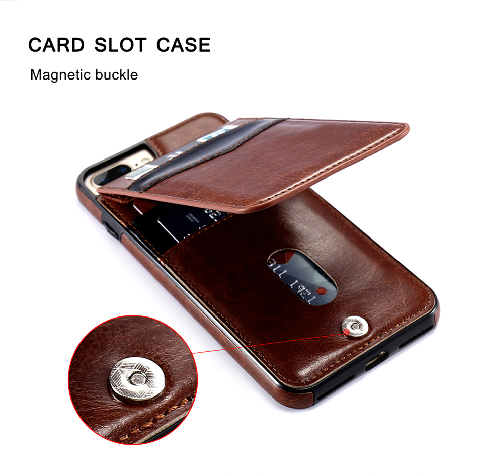 card slot magnetic buckle phone case for iphone 8 PLus