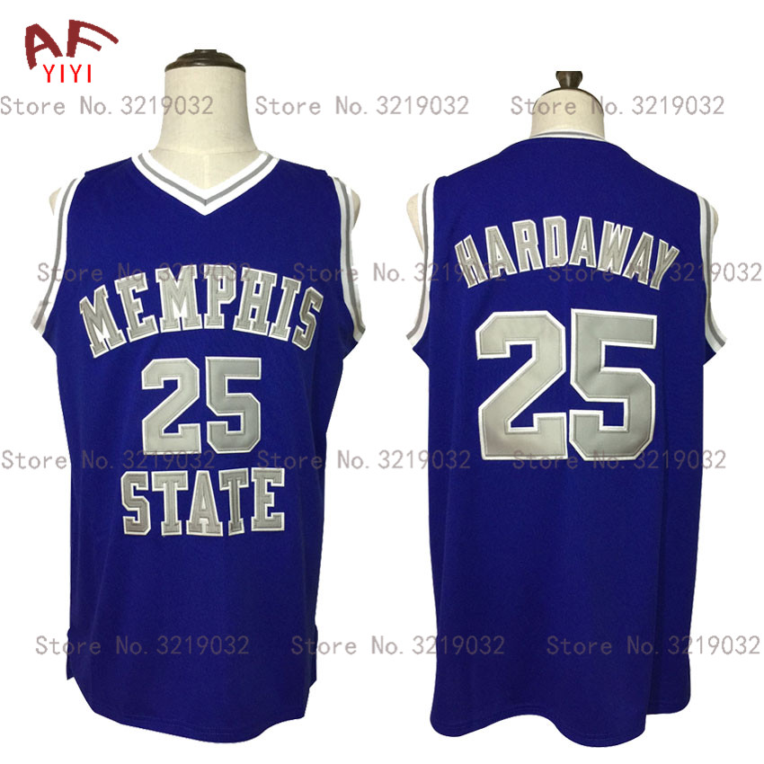 2017 New Cheap Throwback Penny Anfernee Hardaway 25# Memphis State College Basketball Jersey Blue Embroidered Retro Mens Shirts 2018 mens cheap throwback jersey sasha danilovic 5 virtus kinder bologna european basketball jersey black stitched retro shirts