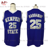 2017 New Cheap Throwback Penny Anfernee Hardaway 25 Memphis State College Basketball Jersey Blue Embroidered Retro