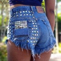 VARBOO_ELSA Vintage Rivet High Waist Denim Shorts Women Tassel Ripped Loose Short Jeans Punk Sexy Hot Summer Fashion Short Pants