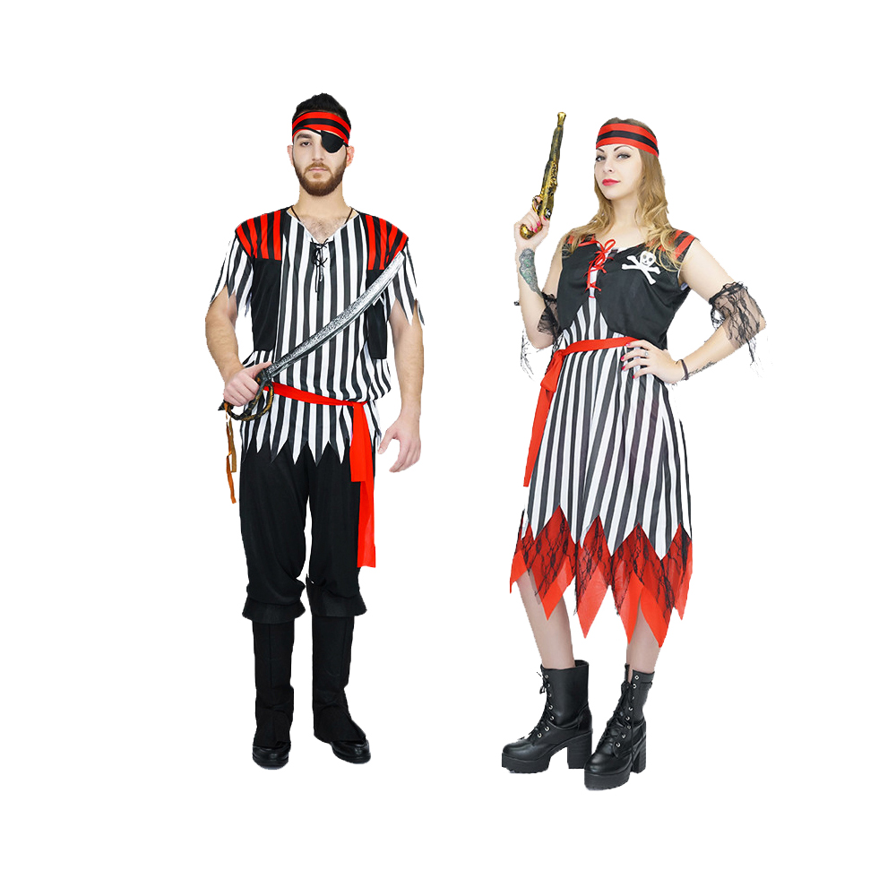 2018 New Halloween Costumes Women Men Pirates Cosplay Costume Masquerade Pirates Costumes Carnival Party Cosplay stripe Outfit