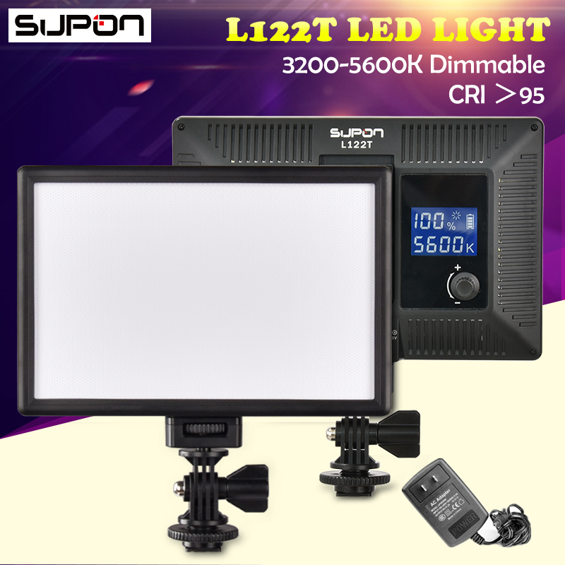 SUPON L122T 3300 K-5600 K Caméra lumière led rouge à lèvres de charme LCD Bi-Couleur Studio éclairage vidéo Lampe Panneau aro de luz led par maquillaje