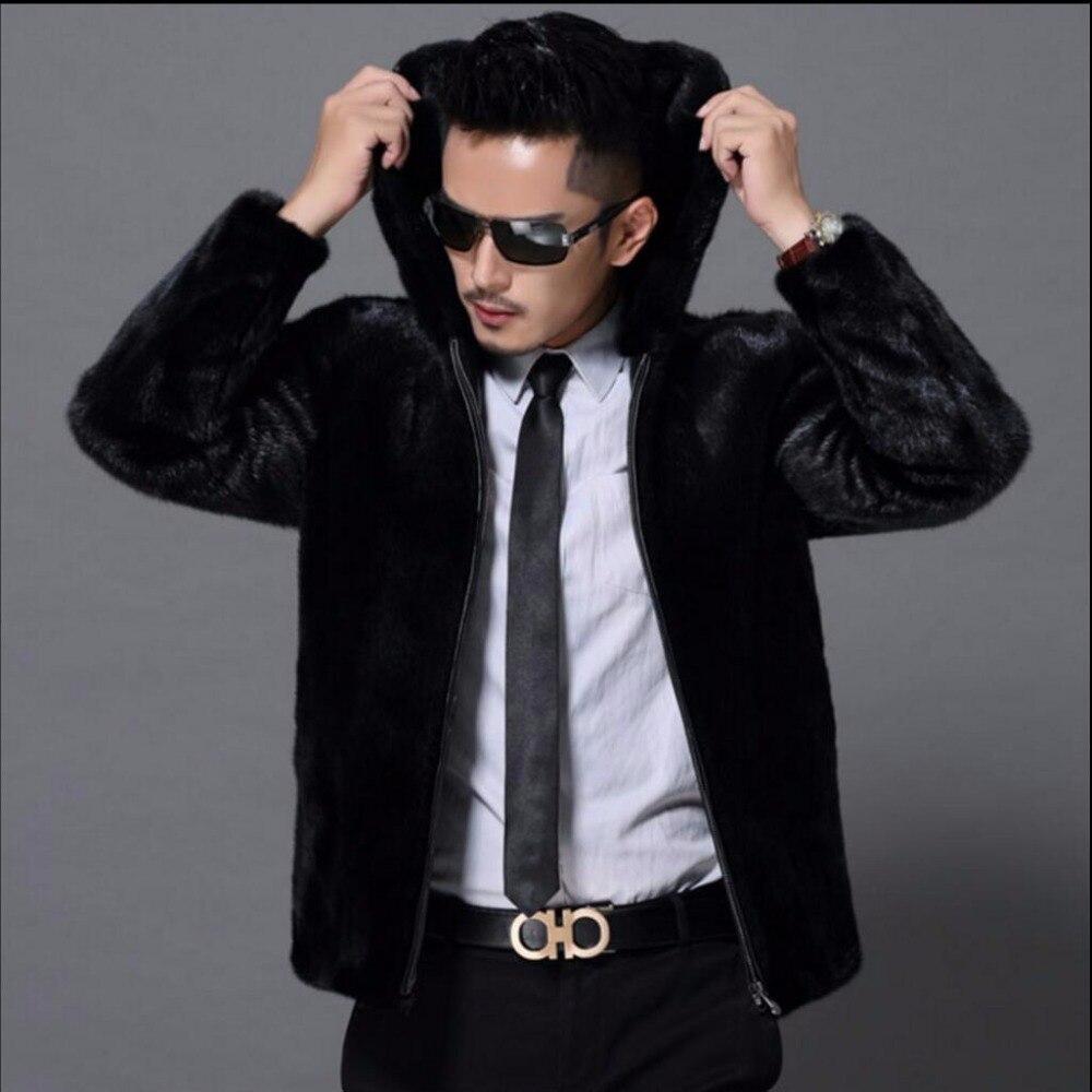 S-5XL nouveau hiver noir mode long manteau en fausse fourrure vison cheveux fausse fourrure col rabattu manteaux hommes à capuche zippe veste de fourrure