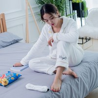 Lover Pajamas Set Winter Coral Fleece Couple Pajamas Flannel Warm Women Sleepwear White Two Piece Suits