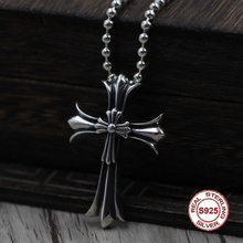 S925 Sterling Silver Men's Pendant Double cross jewelry tag Personality classics Trendy fashion Send a gift to love