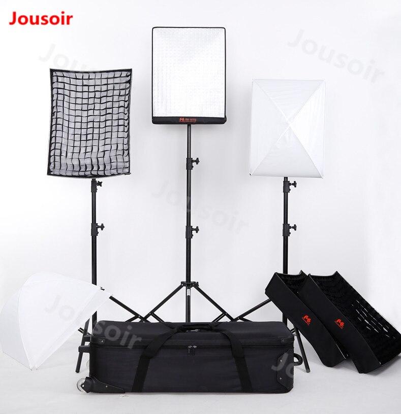FalconEyes 100W RX-18TD 3 piezas Panel LED rollo Luz Portátil LED 504 piezas LED Flexible foto tres lámpara kit de CD50 T06