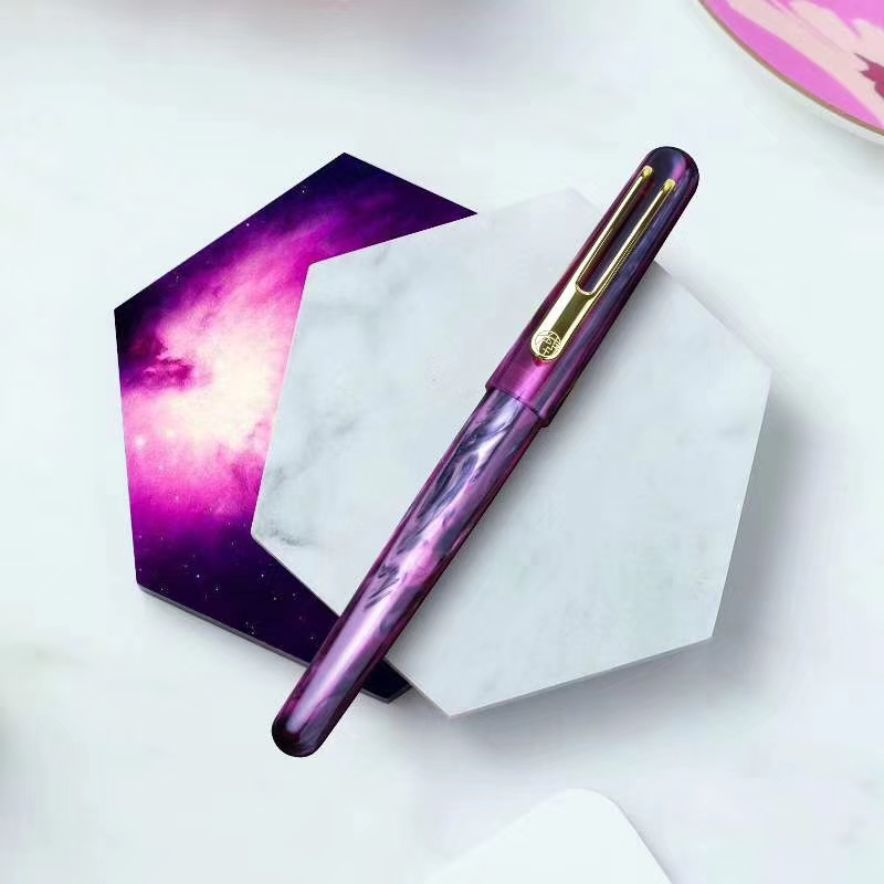 New Picasso Celluloid Fountain Pen Pimio EtSandy Aurora Purple PS 975 Iridium Fine Ink Pen Writing