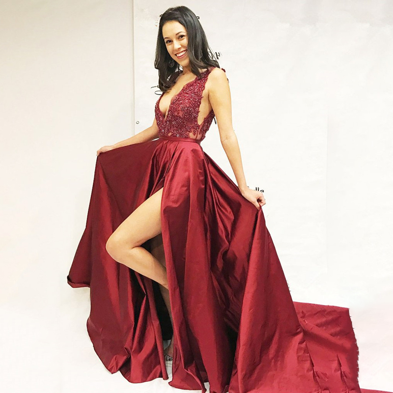 V Neck Sleeveless Long   Prom     Dresses   Burgundy Sexy A Line Front Slit Formal Evening   Dresses   2019 Vestido De Fiesta