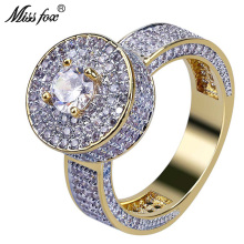 HOT!!! Hip Hop New Round Fashion Rings Men Gold 18K Big Diamond Prong Setting Ring Jewelry Luxury Brand Wedding